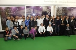 FENSTERBAU FRONTALE 2014 – Group photo of customers from France with Dr Mrosik