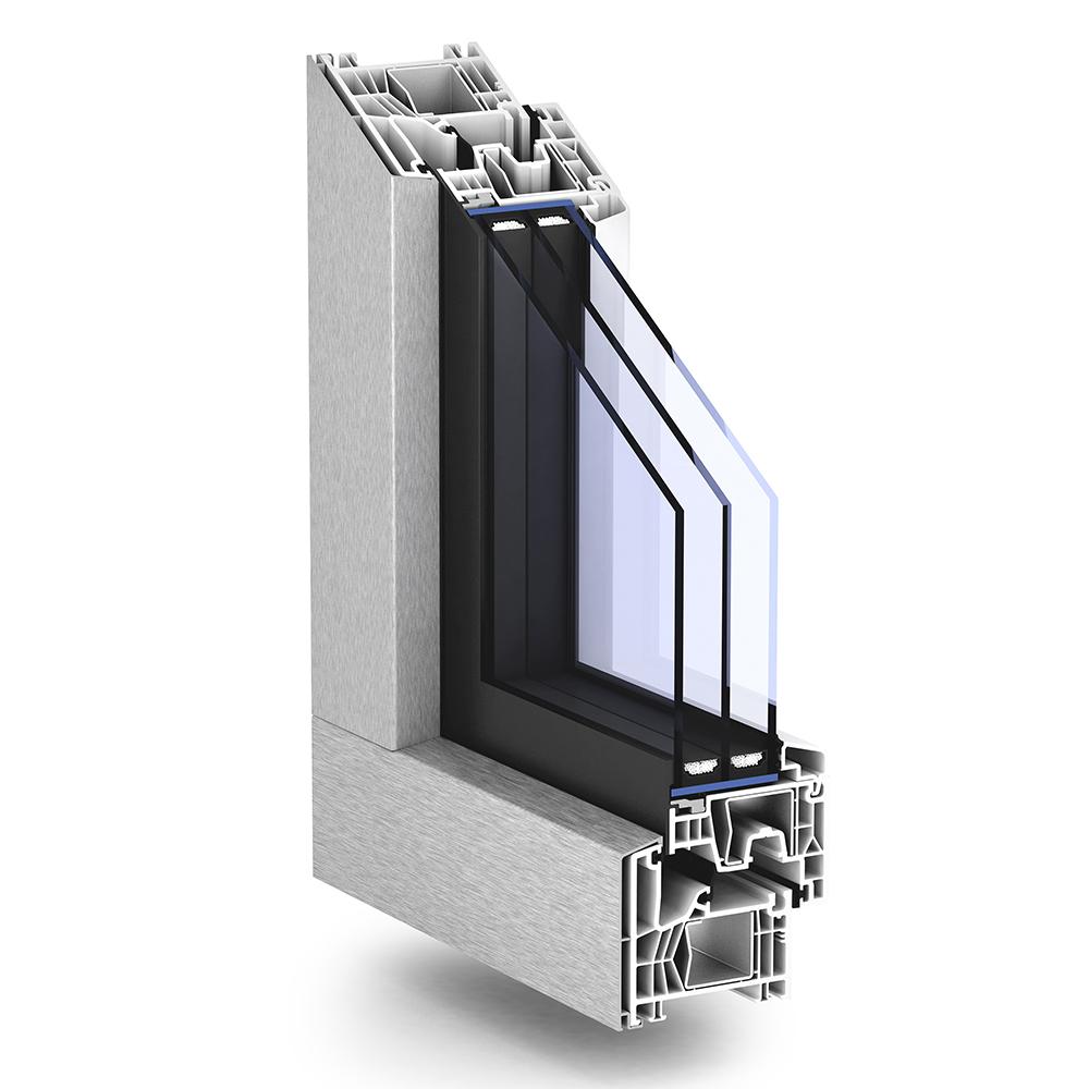 TROCAL 76 AluClip Zero centre seal PVC U window system