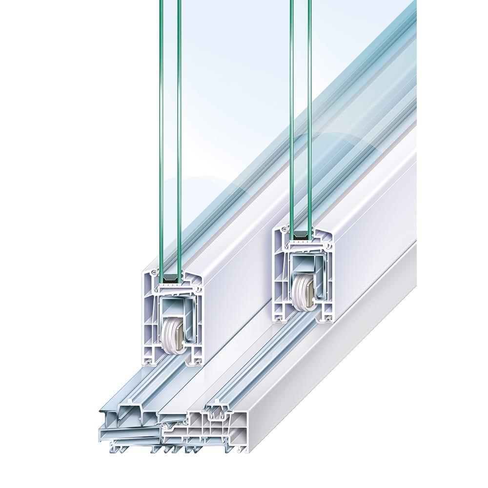 Trocal premidoor 70 pvc u lift sliding door system for Porte lift and slide